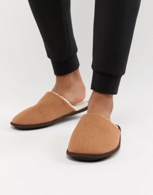 New Look mule slippers with borg lining in tan