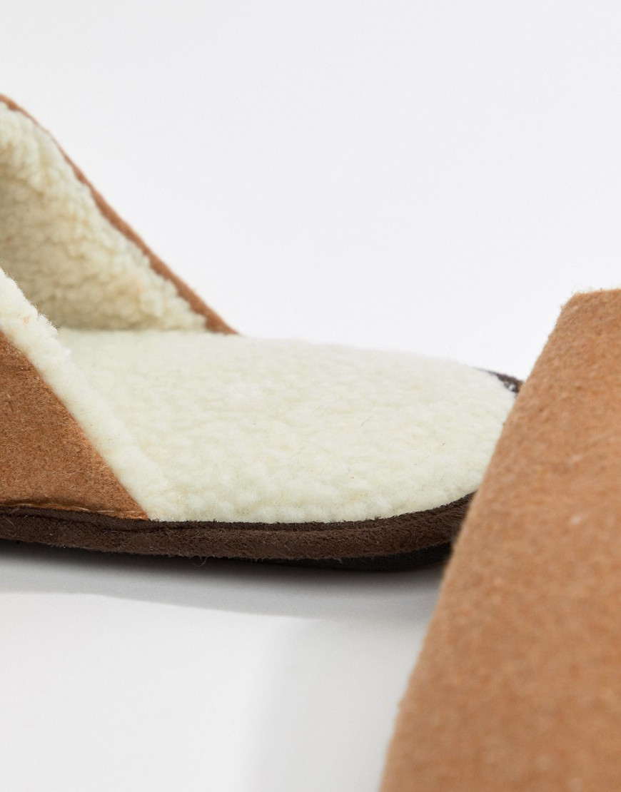 New Look Mule Slippers With Borg Lining In Tan by New Look