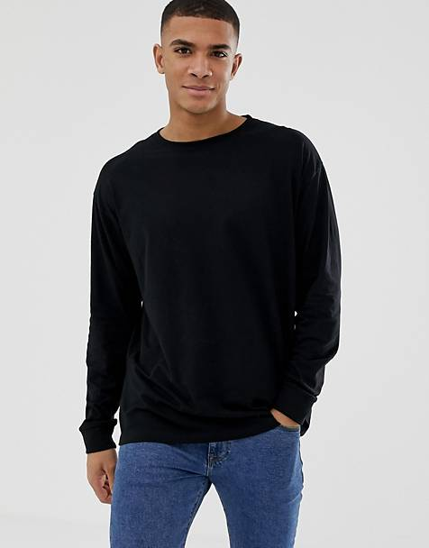 New Look oversized long sleeve cuff t-shirt in black