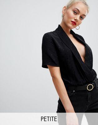 New Look Petite - Body en satin et en jacquard - Noir