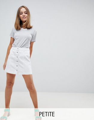 New Look Petite Denim Button Down Skirt