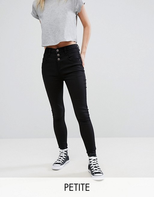 New Look Petite – Enge Jeans in Schwarz mit hoher Taille