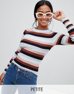 New Look Petite Knitted Stripe Crew Neck Top