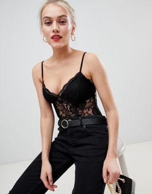 Image 1 of New Look Petite lace cami body in black
