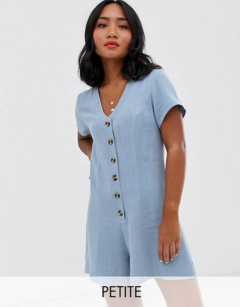 New Look Petite - Playsuit met knopen in lichtblauw