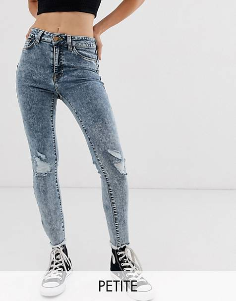 New Look Petite ripped jeans in acid blue