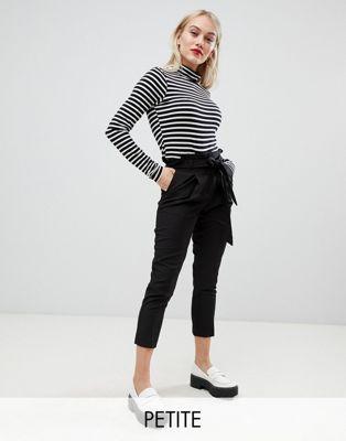 New Look Petite – Svarta byxor med knytband i midjan