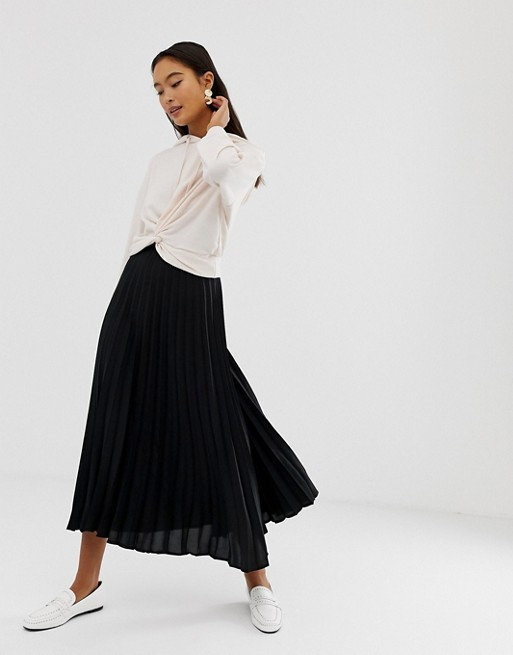 cbd3665752f3d New Look pleated midi skirt in black