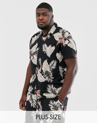 Image 1 of New Look Plus co-ord shirt in leaf print
