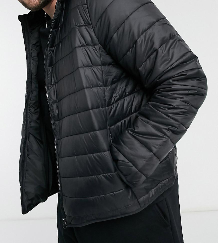 New Look PLUS – Schwarze Steppjacke mit Kapuze