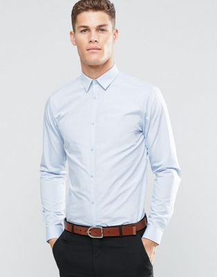 New Look Poplin Shirt In Regular Fit In Light Blue