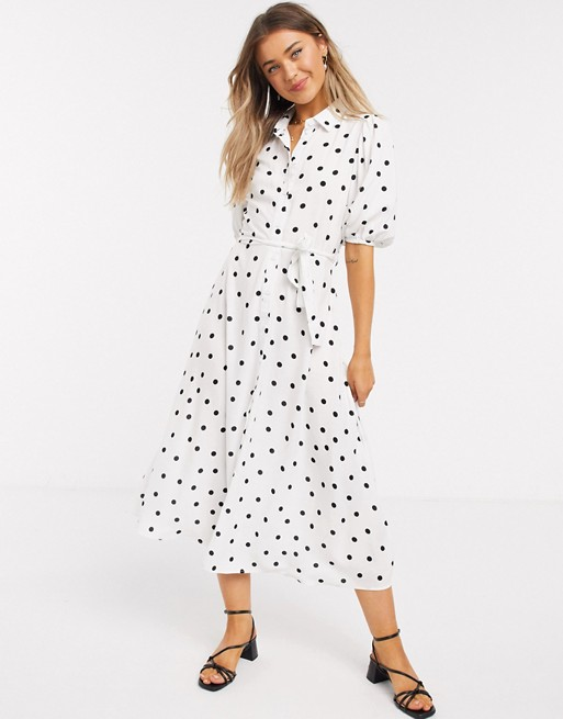 New Look Puff Sleeve Midi Shirt Dress In White Polka Dot