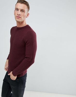 New Look - Pull en maille gaufrée - Bordeaux