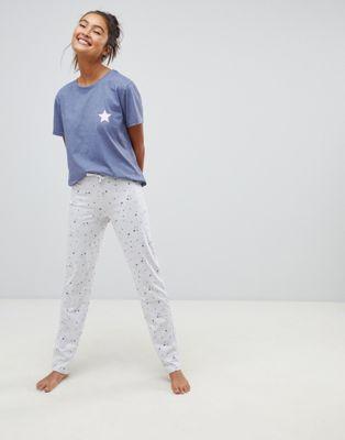 New Look Pyjama Set In Star Print