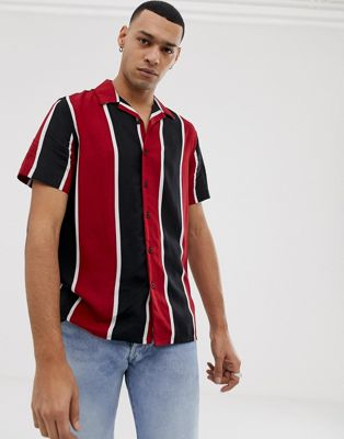 New Look Regular Fit Revere Shirt In Red Stripe by New Look
