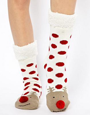 New Look Reindeer Spot Slipper Socks
