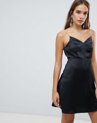 Image 1 of New Look Rhinestone Trim Satin Dress