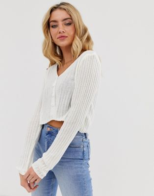 New Look rib 90s cardigan in white