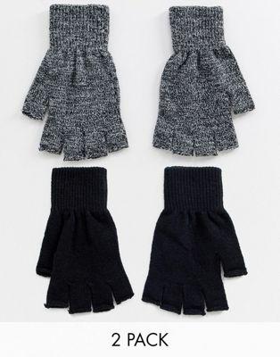 Afbeelding 1 van New Look - Set van 2 handschoenen zonder vingers in zwart en grijs