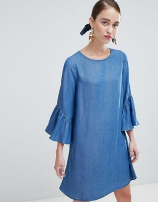 New Look Shift Dress with Ruffle Sleeve