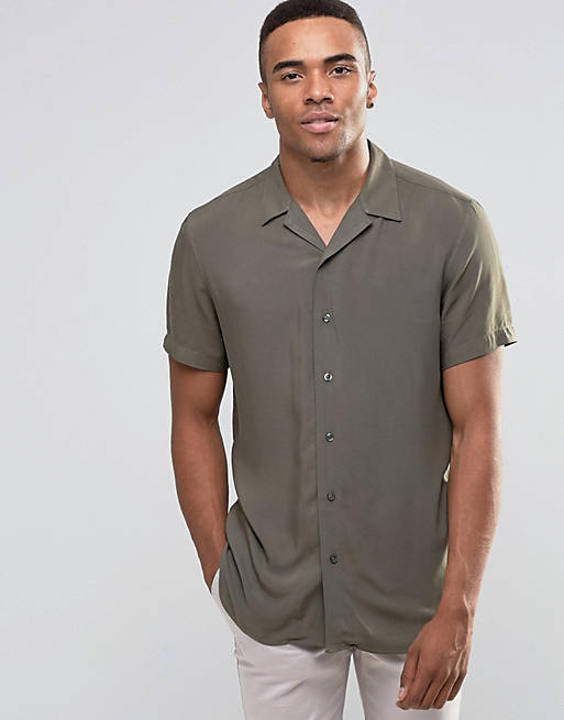 New Look Shirt With Revere Collar In Khaki In Regular Fit