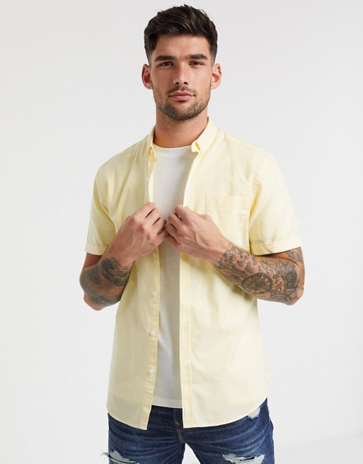 New Look Short Sleeve Organic Cotton Oxford Shirt In Yellow