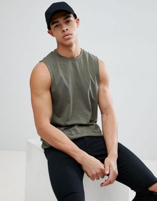 New Look Sleeveless T-shirt In Khaki