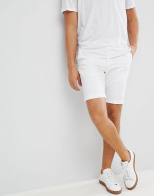 New Look Slim Fit Chino Shorts In White
