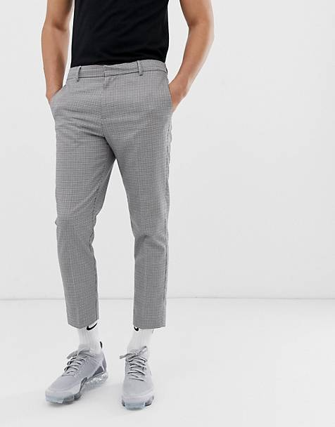 New Look slim fit cropped pants in puppytooth