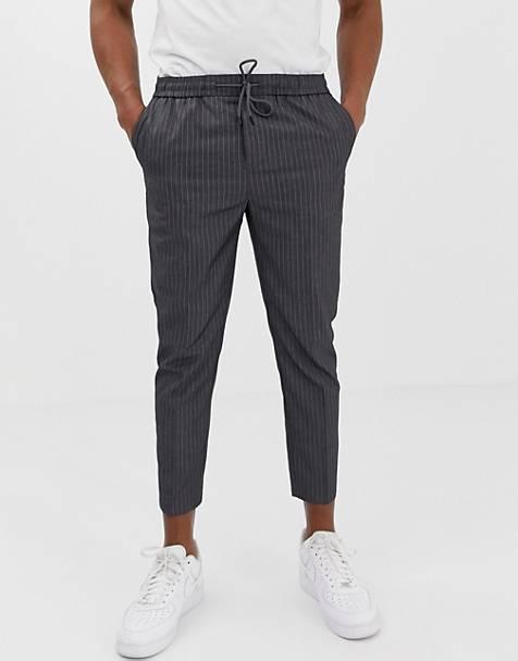 9e5dd8b946b New Look slim fit cropped trousers in grey pinstripe