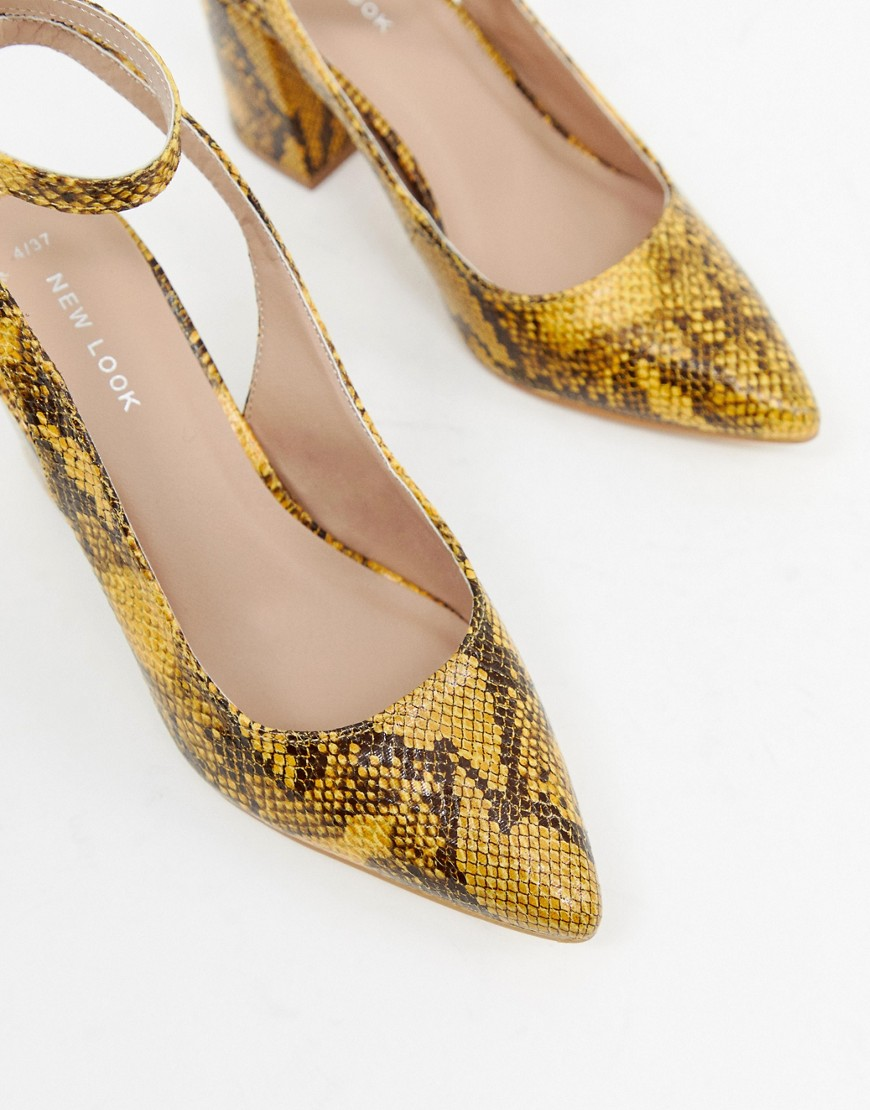 New Look Slingback Block Heeled Shoes In Snake Print by New Look