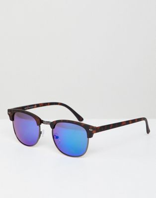 New Look Square Sunglasses With Mirrored Lens In Tort