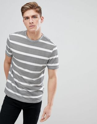 New Look Stripe T-Shirt In Grey