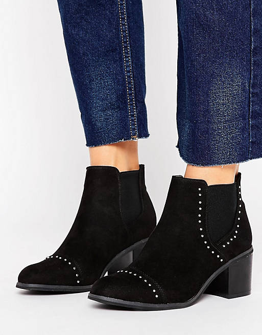 New Look Suedette Stud Detail Heeled Ankle Boot
