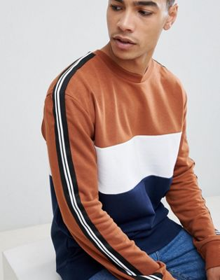 New Look sweat with colour block in brown