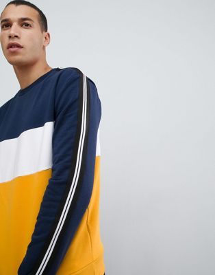 New Look sweat with colourblock in yellow