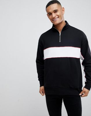 Image 1 of New Look sweat with funnel neck in black