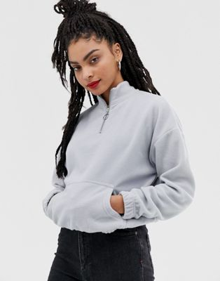 Afbeelding 1 van New Look - Sweater met korte rits en zakken in grijze fleece