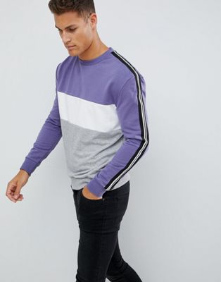 New Look Sweatshirt With Colour Block In purple