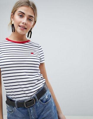 Afbeelding 1 van New Look - T-Shirt met streep en hartjes
