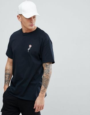 New Look T-Shirt With Rose Embroidery In Black