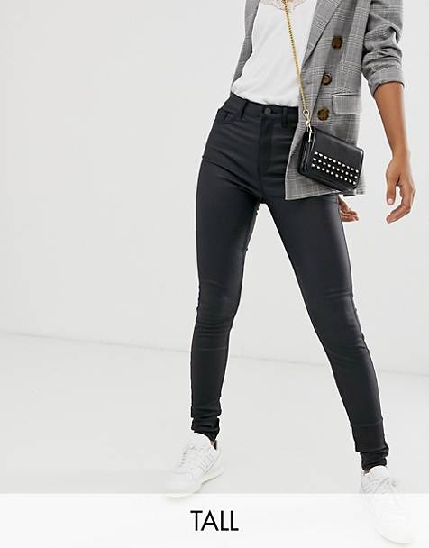New Look Tall coated disco jeans in black
