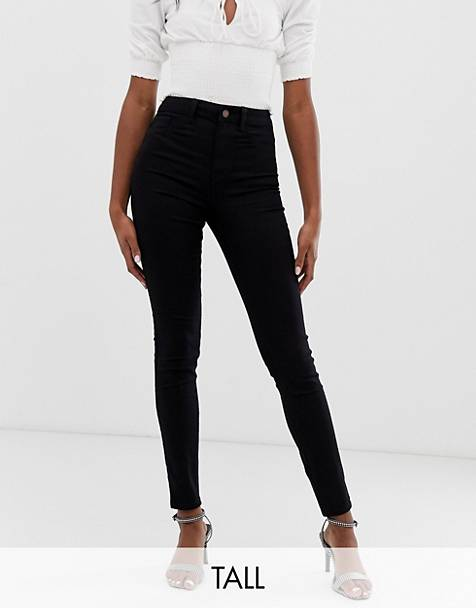 New Look Tall disco skinny jeans in black