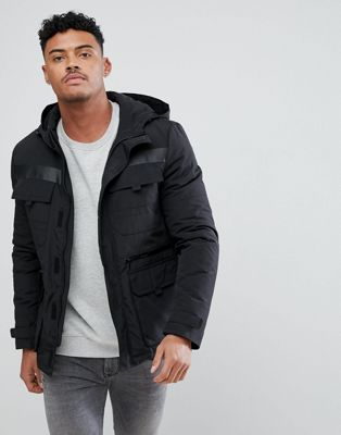 Image 1 of New Look Tech Parka Jacket In Black