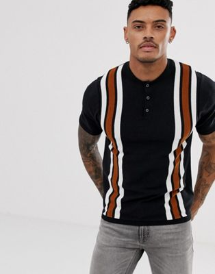 Image 1 of New Look vertical stripe knitted polo in tan