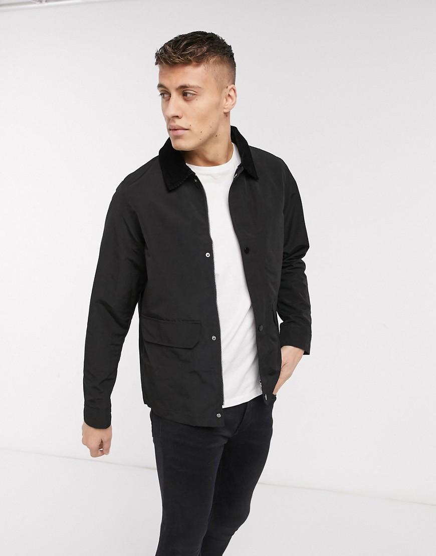 New Look - Veste chemise avec col en velours côtelé - Noir