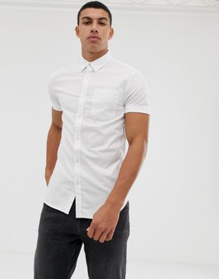 New Look – Vit oxfordskjorta med muscle fit-passform