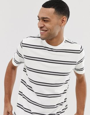 New Look – Weißes T-Shirt mit Streifendetail
