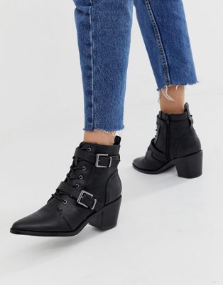 New Look western buckle heeled boot in black