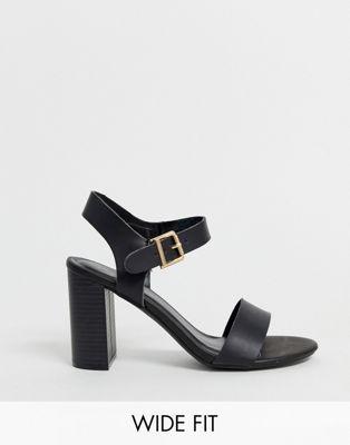 New Look Wide Fit block heeled sandals in black